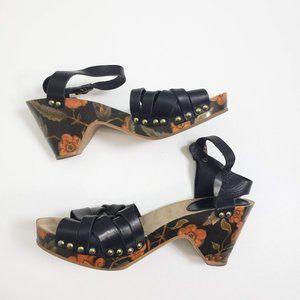 ISABEL MARANT Clog Sandal Leather Wood Wedge 38